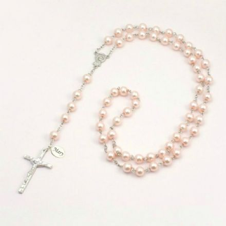 Wired Personalised Rosary, Pale Pink Pearls, Any Engraving